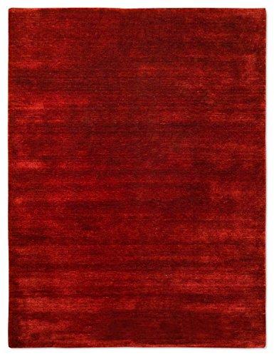 Morgenland Gabbeh Loribaft Teppich Dunkelrot Einfarbig Uni Schurwolle Handgewebt 200 x 140 cm