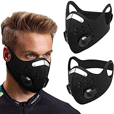 Lumiereholic 10PCS Cycling Face Cover, Sports Half Neoprene Face Guard Respirator Windproof Dustproof Outdoor Wear Facemasks with Breathable Valve - Black from Lumiereholic