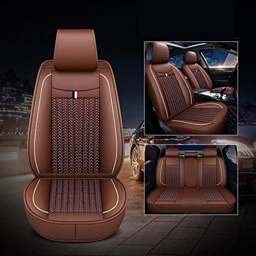 Geling Fundas de asiento para coche, fundas de asiento delantero, de piel sintética, juego universal negro, accesorio interior para coche, antideslizante, color marrón, paquete A