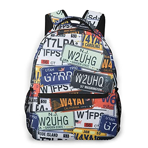 Mochila de impresión de placa de licencia de impresión portátil impermeable antirrobo casual mochila bolsa USB puerto de carga mochila unisex