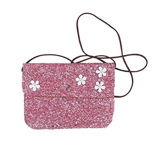 FENICAL - Bolso bandolera de lentejuelas para teléfono móvil o niña, color morado, Rosa (rosa), Environ 15,8 x 12 x 0,8 cm