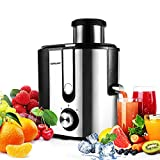 Juicer Machines, HERRCHEF Juice Extractor with 3'' Wide Mouth, BPA Free Compact Vegetable and Fruit Juicer Machines Anti-drip, Detachable and Easy to Clean Dual Speeds Stainless Steel Centrifugal Juice Maker