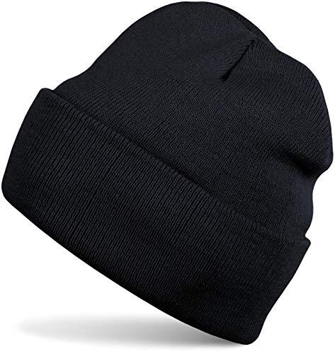 styleBREAKER Kinder Beanie Strickmütze mit breiter Krempe, Feinstrick Mütze doppelt gestrickt, Kindermütze 04024030, Farbe:Schwarz