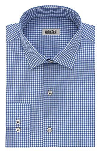 Unlisted by Kenneth Cole mens Slim Fit Checks and Stripes (Patterned) Dress Shirt, Medium Blue, 14 -14.5 Neck 32 -33 Sleeve Small US