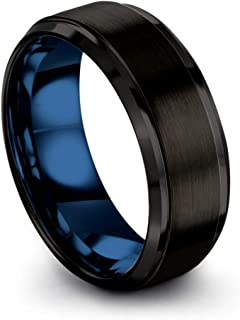 Tungsten Carbide Wedding Band Ring 8mm for Men Women Green Red Blue Purple Black Copper Fuchsia Teal Interior with Step Bevel Edge Brushed Polished