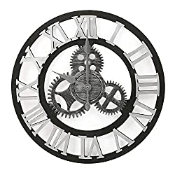 Decent Home 3D Gear Wall Clock Roman Numerals - 15.5 Inch Non Ticking Rustic Clocks Wooden Decoration for Home Sliver & Black