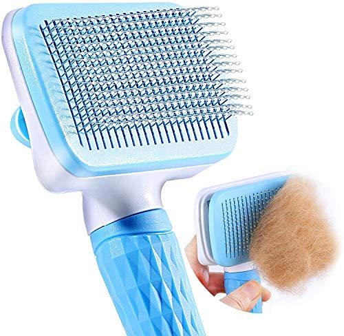 N\C Haustier Hundebürste Katzenbürste, Haustier Borsten, Haar Entferner Haustier Bürste für Langhaar und Kurzhaar, Sauberes Haustierhaar von der Bürste mit Einem Knopf (Blau)