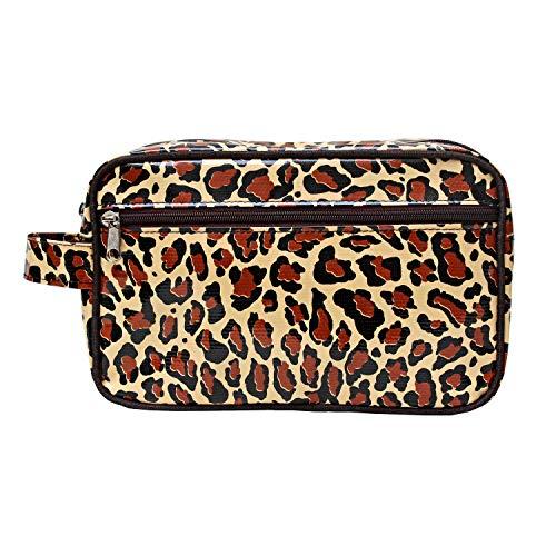 Wasserabweisende Kosmetiktasche, Kulturtasche, Waschtasche, für Reise und Urlaub, aus Wachstuch Leopard, Handarbeit