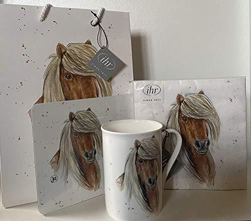 YHR Set Farmfriends: paard pony Haflinger - servetten + beker + plankje + geschenktas