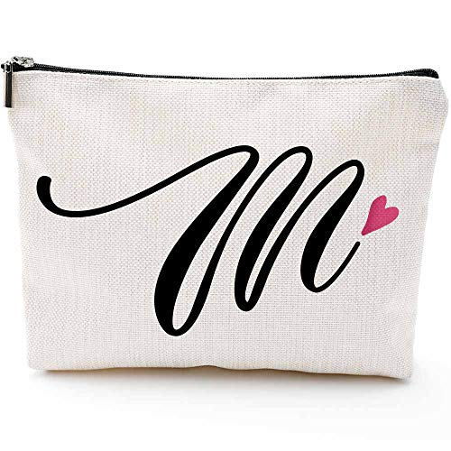 M Initial Monogram Personalized Travel Makeup Bag,Cosmetic Bag Pencil Pouch Gifts with Zipper Waterproof(Makeup bag-Letter M-2)