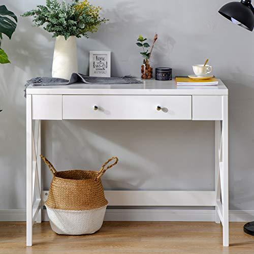 belupai Escritorio con 1 cajón, 100 x 48 x 78 cm, mesa para ordenador, tocador, sin espejo, de madera y roble, diseño nórdico moderno