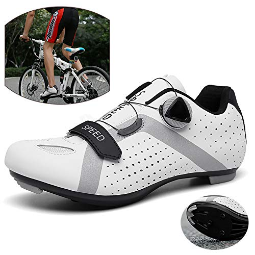 NNZZY Outdoor Road Cycling Shoes Lightweight Bike Shoes Breathable Biking Lock Shoes Not Easy to Peel Off for Long Term Riding Ride Safely,White,39