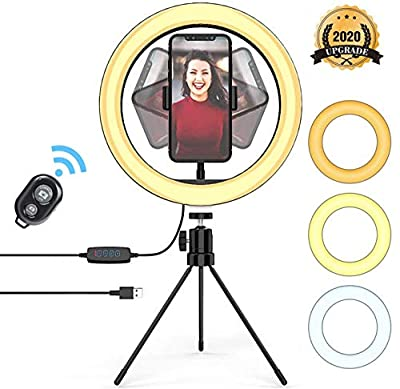 "10"" Desktop Selfie Ring Light with Tripod Stand & Remote Control &10 Brightness Level & 3 Light Modes 6500k Portable Halo Light for YouTube, Makeup, Live Streaming, Video Shooting from tian ze xuan"