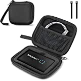 ProCase Samsung T7/ T7 Touch Portable SSD Hard Carrying Case and 2 Cable Ties, Hard EVA Shockproof Storage Travel Organizer for T7/ T7 Portable 500GB 1TB 2TB USB 3.2 External Solid State Drives-Black
