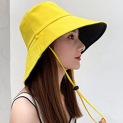 Estate Femmina Fiocco di Neve Cappelli Sole Panama Femmina Pieghevole Berretto Secchio Grande Tesa Larga Anti-UV Spiaggia Cappello-Giallo