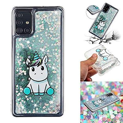 HopMore Glitter Funda para Samsung Galaxy A71 Purpurina Silicona Cover 3D Liquido Brillante Dibujos Transparente Carcasa Resistente Antigolpes Case Protección - Unicornio