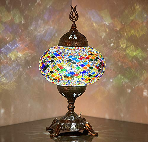 (15 Colors) Battery Operated Mosaic Table Lamp with Built-in LED Bulb, Turkish Moroccan Handmade Mosaic Table Desk Bedside Mood Accent Night Lamp Light Lampshade with LED Bulb,No Cord (Anatolian Rug)