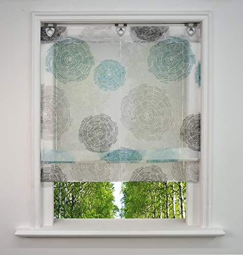 BAILEY JO - Estor con ojales, diseño de impresión de aire, gasa transparente, cortina con ganchos en U, poliéster, azul, BxH 120x130cm