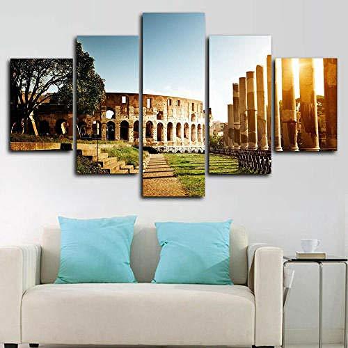 QQWW Cuadro Moderno En Lienzo,5 Piezas XXL Ciudad de Roma Roma Italia HD Abstracta Pared Imágenes Modulares Sala De Estar Dormitorios Decoración para El Hogar