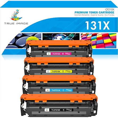 True Image Compatible Toner Cartridge Replacement for HP 131X CF210X 131A Laserjet Pro 200 Color M251nw M251n M251 M276n M276nw CF210A CF211A CF212A CF213A (Black Cyan Yellow Magenta, 4-Pack)