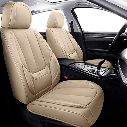 Coverado Front and Rear Seat Covers 4 Pieces, Waterproof Nappa Leather Car Seat Protectors Full Set, Universal Auto Interior Fit for Most Sedans SUV Pick-up Truck, Beige