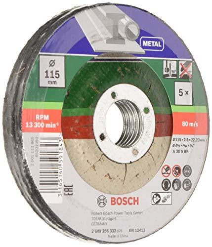 Bosch 2609256332 DIY Trennscheiben Metall 115 mm ø x 2.5 mm gekröpft, 5er set