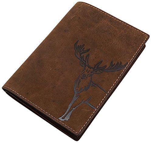 Cuero de búfalo Tarjetero para documento de Identidad con Ciervo-, jabalí-, o Pescado Motivo en marrón (Ciervo Motivo)