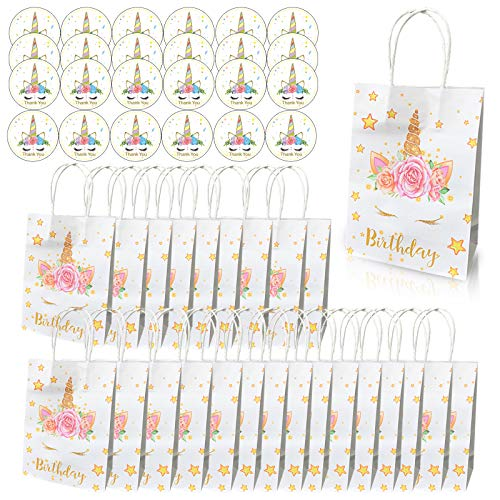 Amycute 48Pcs Sac en Papier Kraft Licorne avec Poignées + Licorne Autocollant Remerciement Rond, Sacs Cadeaux Bonbons Fournitures de Fête Mariage Anniversaire Enfants Boîte Cadeau Gâteau Chocolat