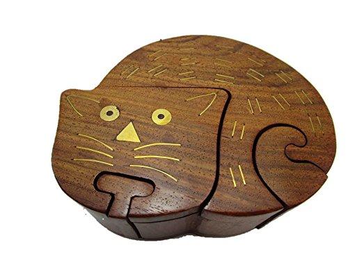 Katze Puzzletruhe Trickbox Tricktruhe Truhe Schatztruhe Puzzlebox Geheimschatulle Holz Truhe Herz Katze Eule Schildkröte Schatzkiste (Katze)