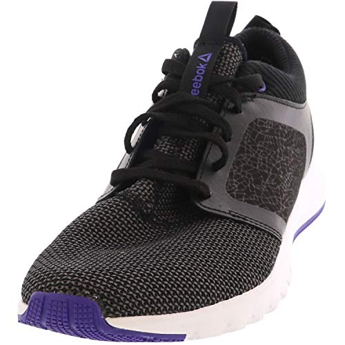 Reebok Womens Print Athlux Shatter Athletic Running Sneaker (8, Black/Purple/White)