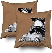 TOMWISH 2 Packs Hidden Zippered Pillowcase i Love Corgi Butts 20X20Inch,Decorative Throw Custom Cotton Pillow Case Cushion Cover for Home