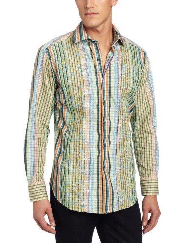 Big Sale Robert Graham Men's Cheltenham Long Sleeve Woven, Multi, Large
