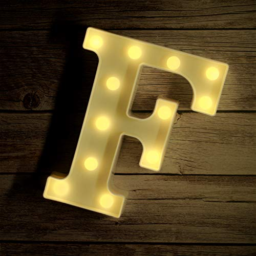 Novelty Place Alphabet Light - Marquee Letters Sign with Shining Bulbs, Standing Night Lamp for Wedding Home Party Bar Décor - Batterijvoeding, Warm Wit (Letter F)