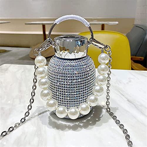 ZBJJ Nueva botella de agua termo de diamantes, termo de diamantes de imitación brillante, botella de agua termo de diamantes de 300 ml, frasco de vacío de diamantes, botella de agua térmica de alta ga