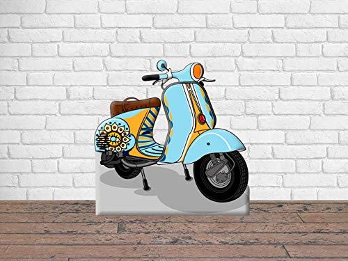 Photocall para Bodas en Cartón Moto Azul Claro 150x150cm | Photocall Moto Azul Claro | Photocall Económico y Original | Photocall Troquelado