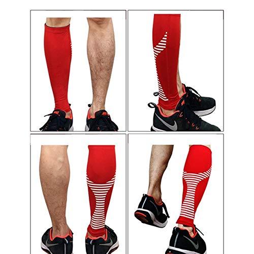 WGWNYN Lange professionelle 1PC elastisches Knie Wadenstütze Fußball Strümpfe Radfahren Bein-Hülsen-Climbing Sport Laufsocken Schutz Beinschutz Legwarmer (Color : Red, Size : M)