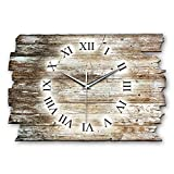 Kreative Feder Holz-Design Landhaus Shabby Style Designer Wanduhr Funkuhr aus Holz *Made in Germany leise ohne Ticken WH041FL 40x27cm (leises Funkuhrwerk)