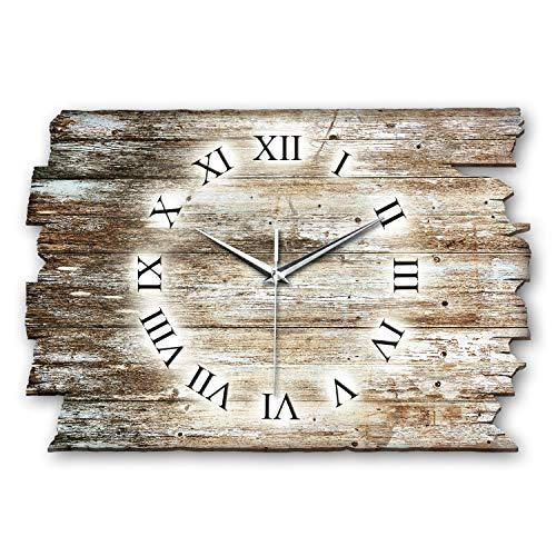 Kreative Feder Holz-Design Landhaus Shabby Style Designer Wanduhr Funkuhr aus Holz *Made in Germany leise ohne Ticken WH041FL 40x27cm (leises Funkuhrwerk)