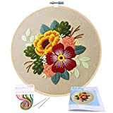 Embroidery Starter Kit with Pattern, Mikimiqi Full Range of Stamped Embroidery Kit Including Embroidery Cloth...