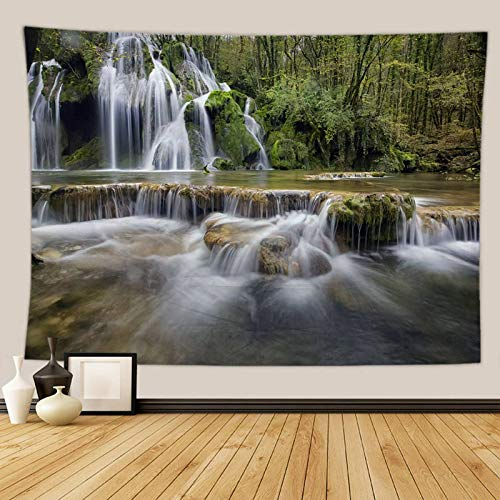 Beydodo Tapiz Pared Decoracion Cascada en Bosque Verde Blanco Tapiz 3D Tela Poliéster Talla 150x100CM