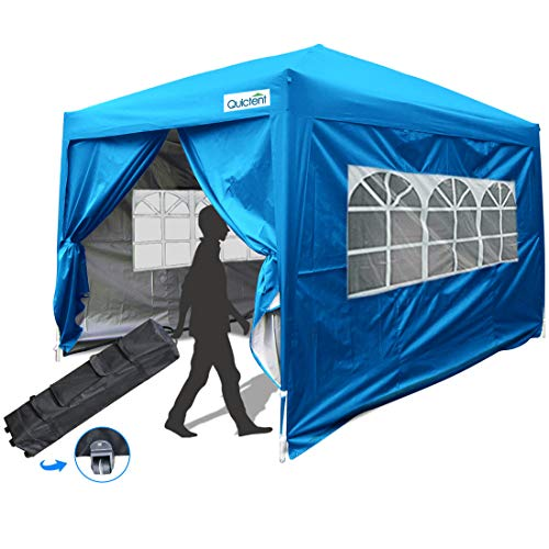 Quictent Silvox Waterproof 10x10 EZ Pop Up Canopy Commercial Tent Gazebo Portable with 4 Sides &Roller Bag (Light Blue)