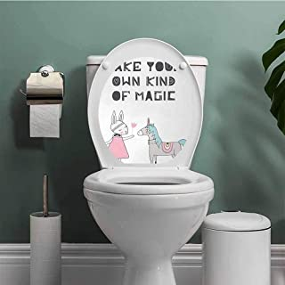 ThinkingPower Nursery CoverDecalsStickers Bunny in a Dress with Unicorn in Scandinavian Style and Motivational Magic Quote Decal Sticker Multicolor W12XL14 INCH