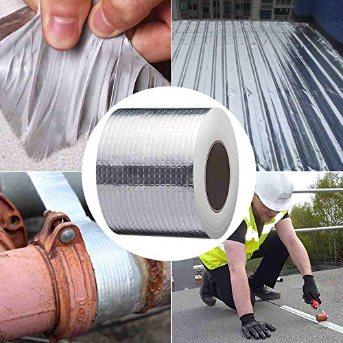 "Litorange 4"" Width x 16 ft Waterproof Patch Seal Butyl RV Rubber Roof Flashing Tape for Wall Pipe Chimney Roof Boat Repair Sealant Caulking Strong Adhesive"