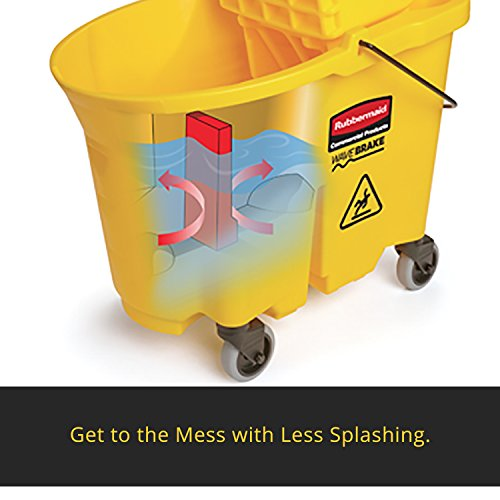 Rubbermaid Commercial WaveBrake 2.0 35 QT Down-Press Mop Bucket and Wringer, Yellow (FG757788YEL)