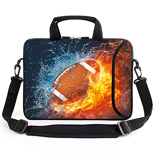 AMARY13' laptop sleeve chromebook case adjustable shoulder strap with handle accessory pocket for men women kids (Football)