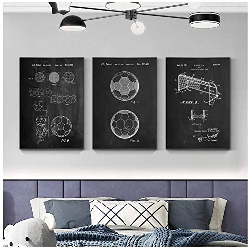 BINGJIACAI Fútbol Anatomía Patente Plano Obra de arte Investigación técnica profesional Lienzo Póster Pintura Arte de la pared Impresiones de imágenes Decoración para el hogar-40x60cmx3 Sin marco