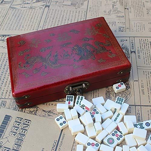 AAA Mini Mahjong portátil Plegable Juego de Mesa Conjunto con Cubierta de Madera Caja de Entretenimiento Chino clásico Familiar al Aire Libre Juegos de Mesa ( Color : Natural )