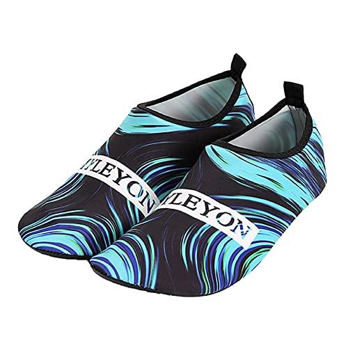 Zapatos de deporte acuático para mujer Aqua descalzo elástico calcetines de yoga para el hogar ocio zapatos o al aire libre natación playa surf azul 38/39 EU