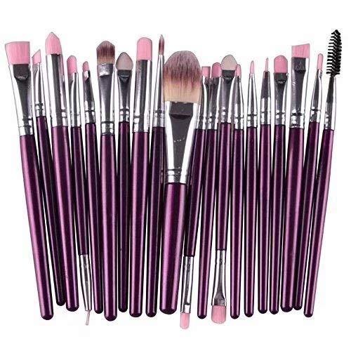 Doyeemei Pinceaux de maquillage mis 20 pièces soies synthétiques base colorée prime mélange Blush Blush poudre visage yeux cosmétiques Kit de brosses de maquillage Style 09