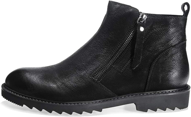 MERRYHE Men's Side Zip Chelsea Boots Round Toe Ankle Boot Black Combat shoes Desert Boot For Work Biker Motorcycle